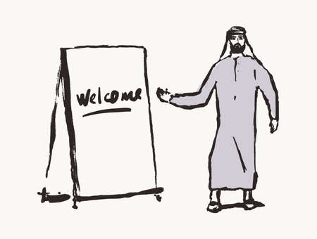 Arab man stands stand inscription welcome vector