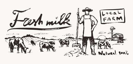 Farmer pitchfork meadow cows label dairy vector