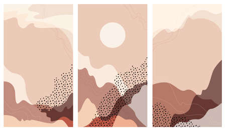 Set vector  stories a abstract landscape