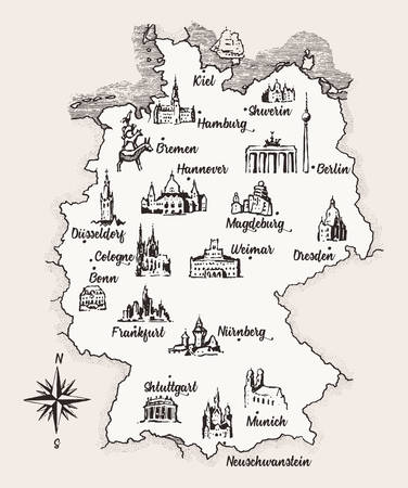 Map Germany old school style vintage retro vector