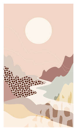 Abstract mountain landscape river scenery a vector