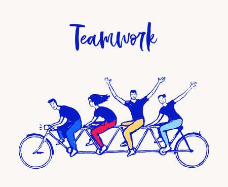 Happy people bike together spirit teamwork vector