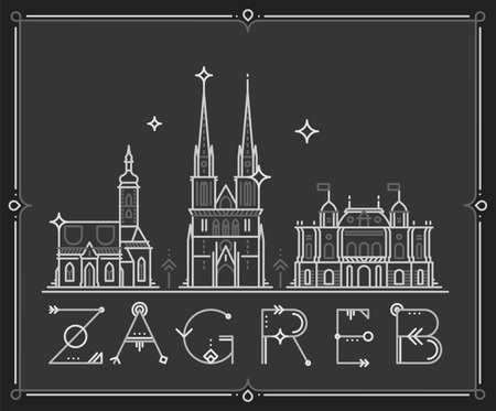 Skyline Zagreb, Croatia vector city buildings line Illustration
