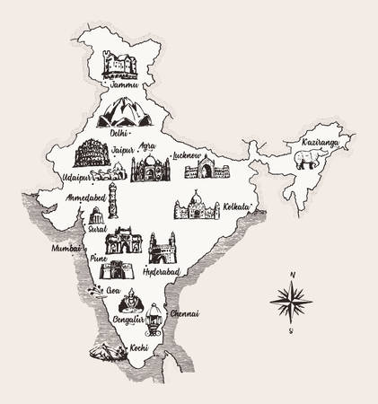 Map India old school style vintage design vector