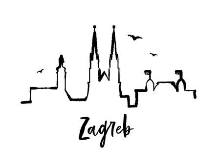 Skyline Zagreb Croatia one line ink vector city