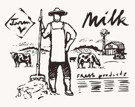 Farmer pitchfork meadow cows label dairy vector Illustration