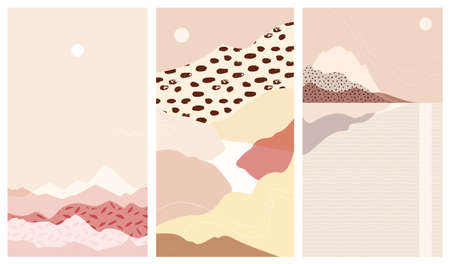 Set abstract mountain landscapes a vector warm