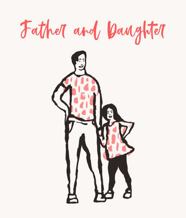 Father child silhouette hand drawn vector sketch Çizim
