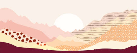 Abstract mountain landscape warm pastel colors art