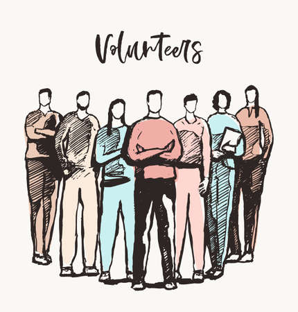 People spirit team volunteers vector care drawn