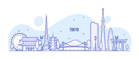 Tokyo skyline Japan city buildings vector linear