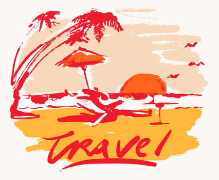 Seaside view beach sunset vacation travel vector