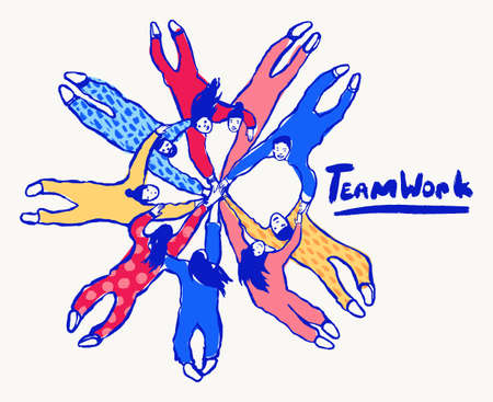 People putting hand togetherness teamwork a vector Çizim