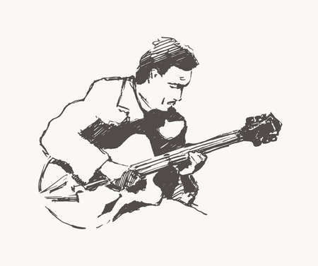 Man playing the guitar hand drawn vector vintage Vetores