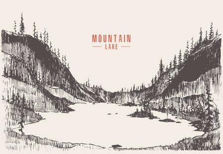 Vector illustration mountain lake pine forest draw Ilustración de vector