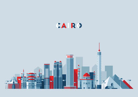 Cairo skyline, Egypt vector illustration, flat