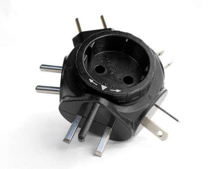 converter: power plug travel adapter, isolated on white background