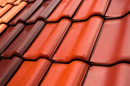 close-up of roof tiles in various colors