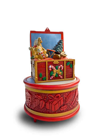 christmas music box showing gifts in a chest