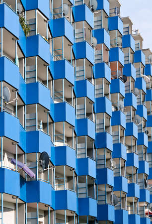 apartment house with blue balconies Stock Photo