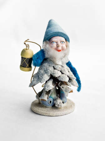 christmas gnome holding a lantern in his hand Stock Photo