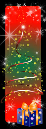 poems: christmas card with stars and lights and a gift package