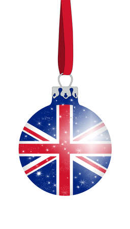 christmas ball in the colors of the british flag with glittering stars Stock Photo