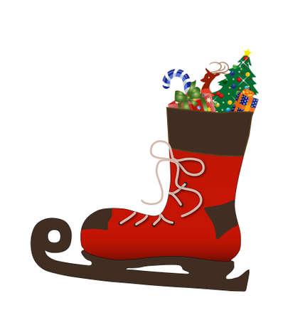 botas de navidad: de arranque de Santa patinaje llenas de regalos Foto de archivo