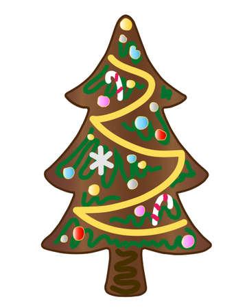 galletas de jengibre: árbol de Navidad de pan de jengibre decoradas con azúcar de color