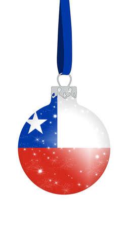 bandera chilena: bola de Navidad con los colores de la bandera de chile con estrellas brillantes