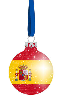 christmas ball in the colors of the flag of spain with glittering stars Stock Photo