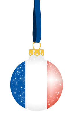christmas ball in the colors of the flag of france with glittering stars Stock Photo