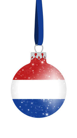 dutch flag: christmas ball in the colors of the flag of the netherlands with glittering stars
