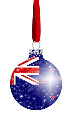 bandera de nueva zelanda: bola de Navidad con los colores de la bandera de Nueva Zelanda con estrellas brillantes