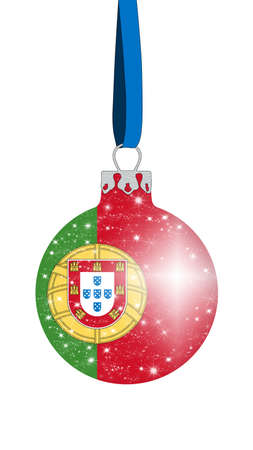 christmas ball in the colors of the flag of portugal with glittering stars