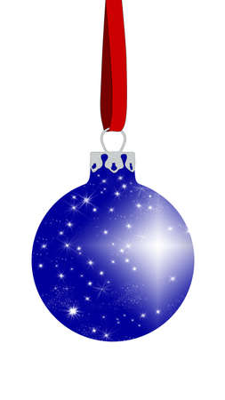 blue christmas ball with glittering stars on the surface Stock Photo