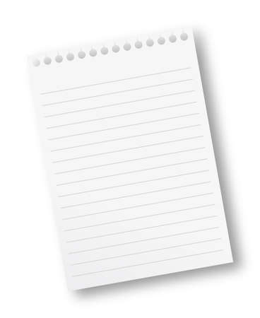 blank note paper with lines and a blue pencil Stock Photo