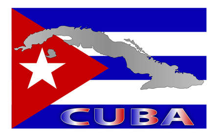 cuban map flag