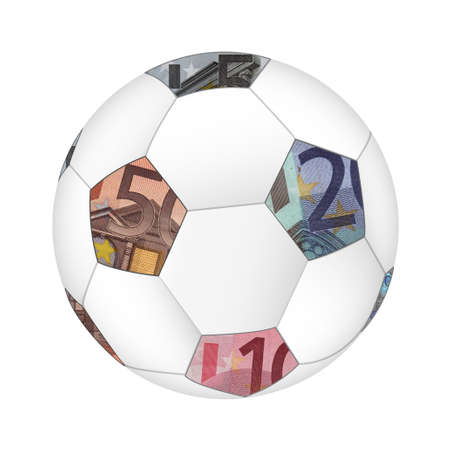sports programme: euro currency soccer ball isolated on white background