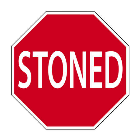 stoned: fun sign in the shape of a road sign shows the word stoned Stock Photo
