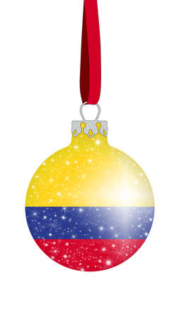 christmas ball in the colors of the flag of colombia with glittering stars