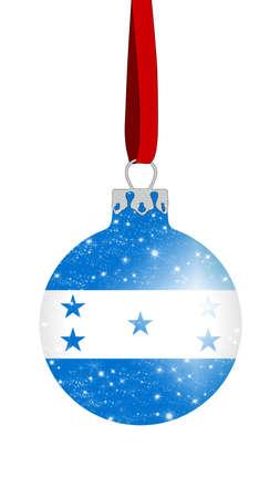 bandera honduras: bola de Navidad con los colores de la bandera de Honduras con las estrellas brillantes
