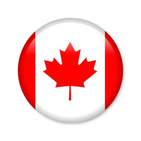 establishment states: canada - glossy button with flag Stock Photo