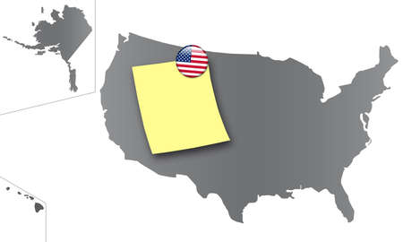 national colors: map of the united states as a pin board with a sticky note and a magnet in the national colors