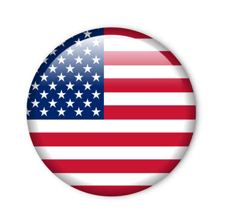 flag of usa: united states - glossy button with flag Stock Photo