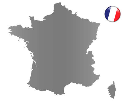 France map with a magnet in national colors photo