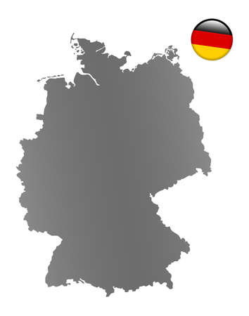 Germany map with a magnet in national colors photo