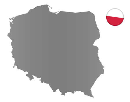 Poland map with a magnet in national colors Stock Photo