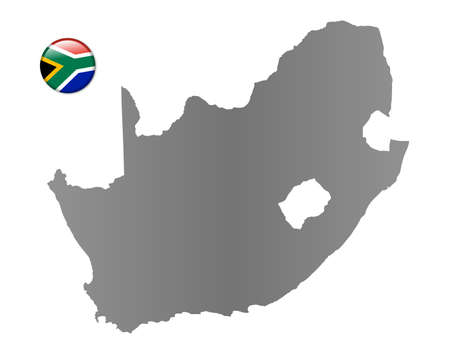 South Africa map with a magnet in national colors photo
