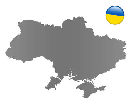 national colors: Ukraine map with a magnet in national colors